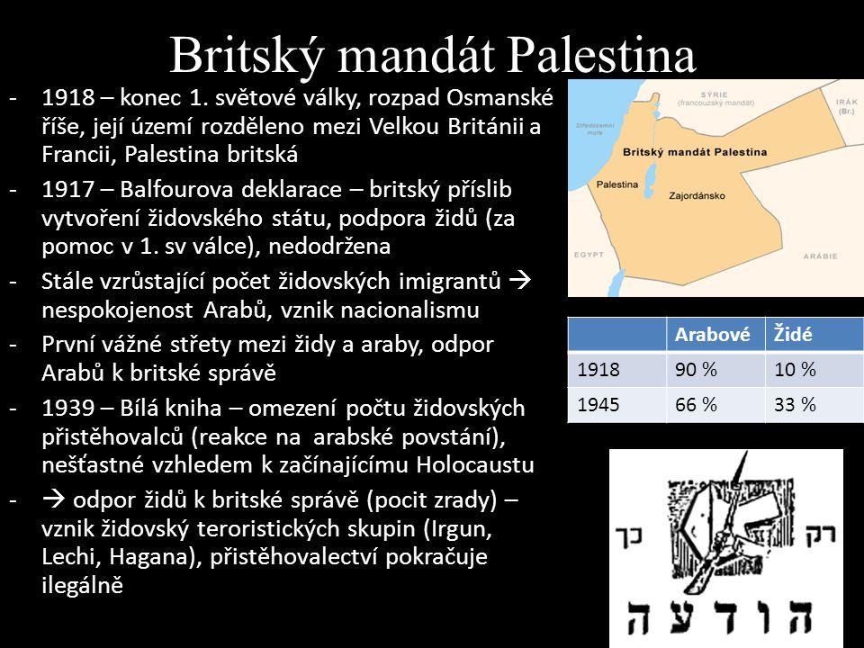 Britský mandát Palestina -1918 – konec 1. světové války, rozpad Osmanské říše, její území rozděleno mezi Velkou Británii a Francii, Palestina britská