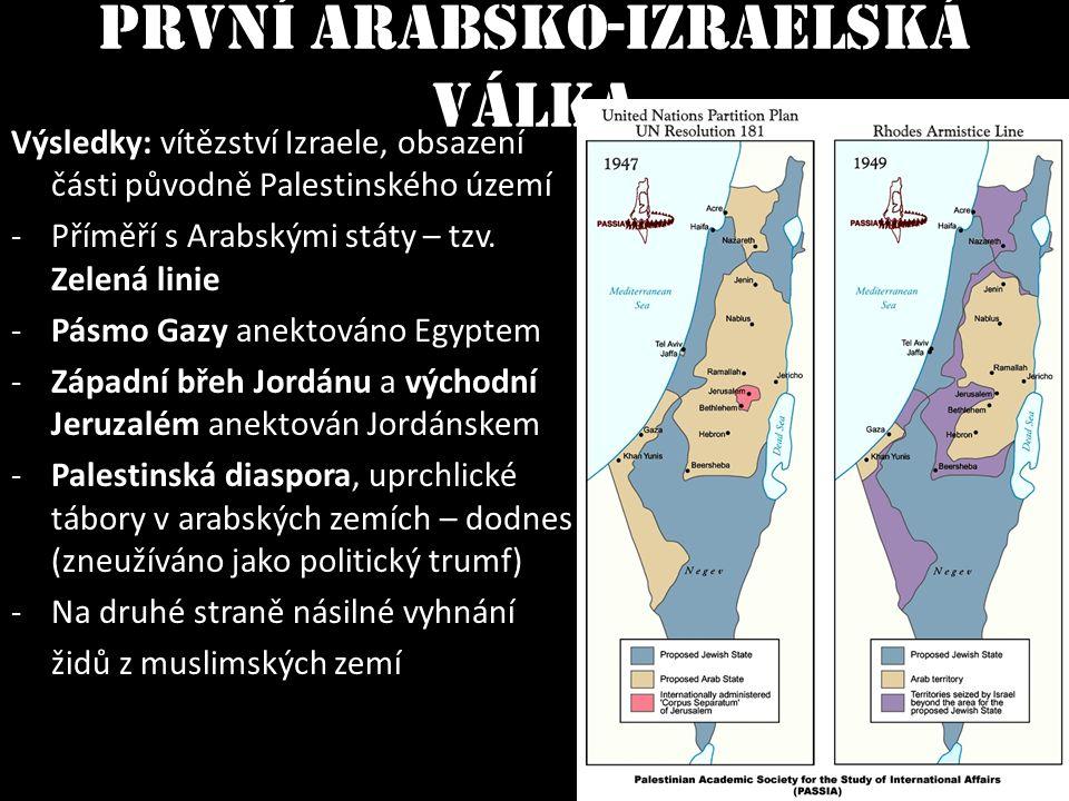 Výsledky: vítězství Izraele, obsazení části původně Palestinského území -Příměří s Arabskými státy – tzv. Zelená linie -Pásmo Gazy anektováno Egyptem