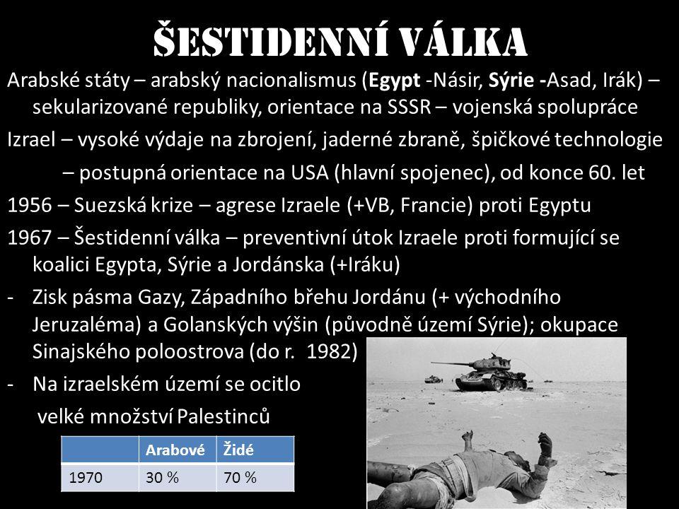 Šestidenní válka Arabské státy – arabský nacionalismus (Egypt -Násir, Sýrie -Asad, Irák) – sekularizované republiky, orientace na SSSR – vojenská spol