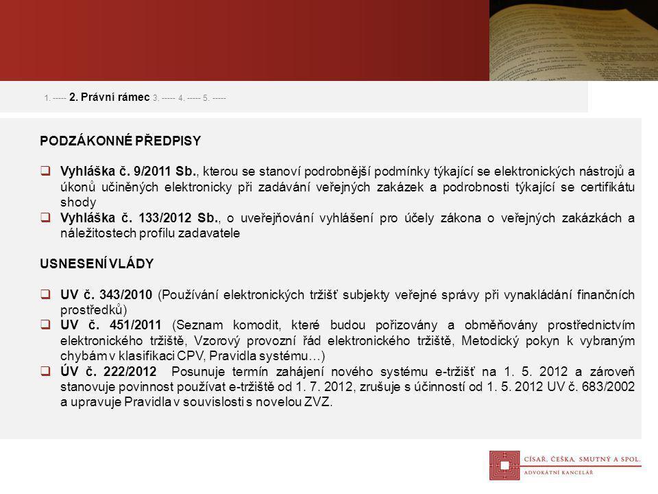 PODZÁKONNÉ PŘEDPISY  Vyhláška č. 9/2011 Sb., kterou se stanoví podrobnější podmínky týkající se elektronických nástrojů a úkonů učiněných elektronick