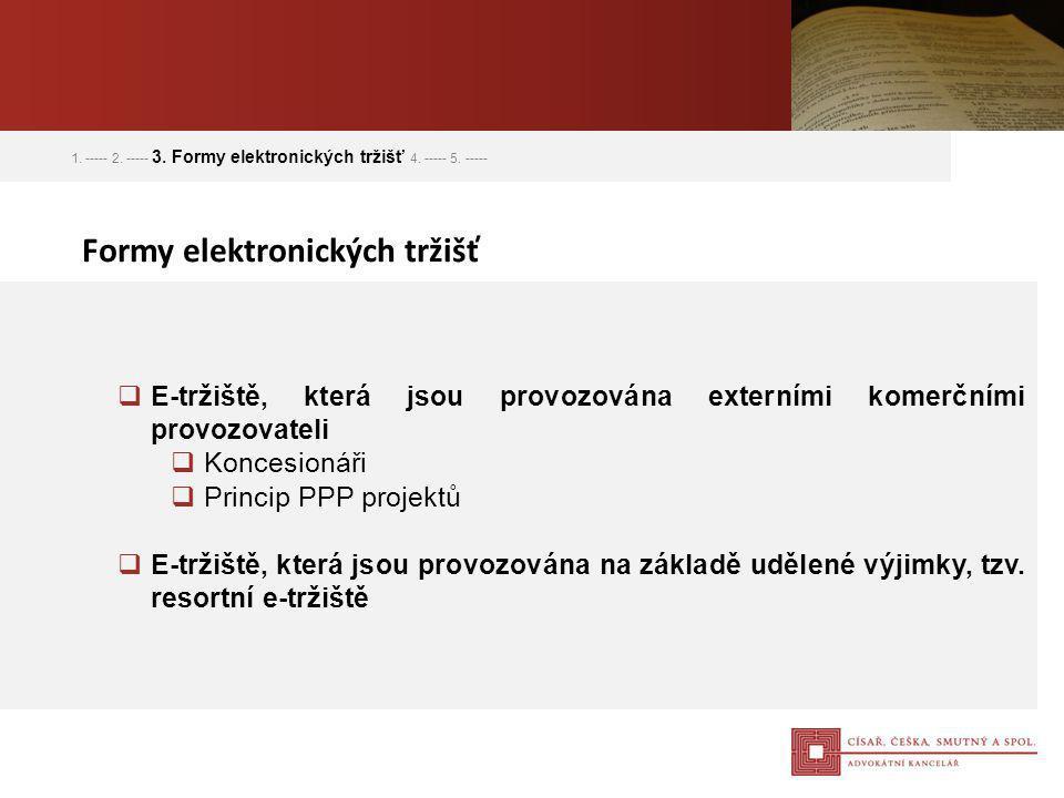  E-tržiště, která jsou provozována externími komerčními provozovateli  Koncesionáři  Princip PPP projektů  E-tržiště, která jsou provozována na zá