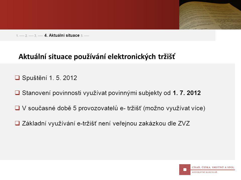  Spuštění 1. 5. 2012  Stanovení povinnosti využívat povinnými subjekty od 1. 7. 2012  V současné době 5 provozovatelů e- tržišť (možno využívat víc