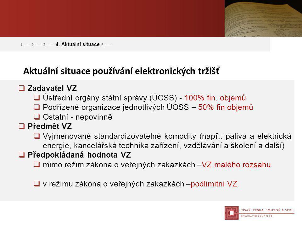  Zadavatel VZ  Ústřední orgány státní správy (ÚOSS) - 100% fin. objemů  Podřízené organizace jednotlivých ÚOSS – 50% fin objemů  Ostatní - nepovin