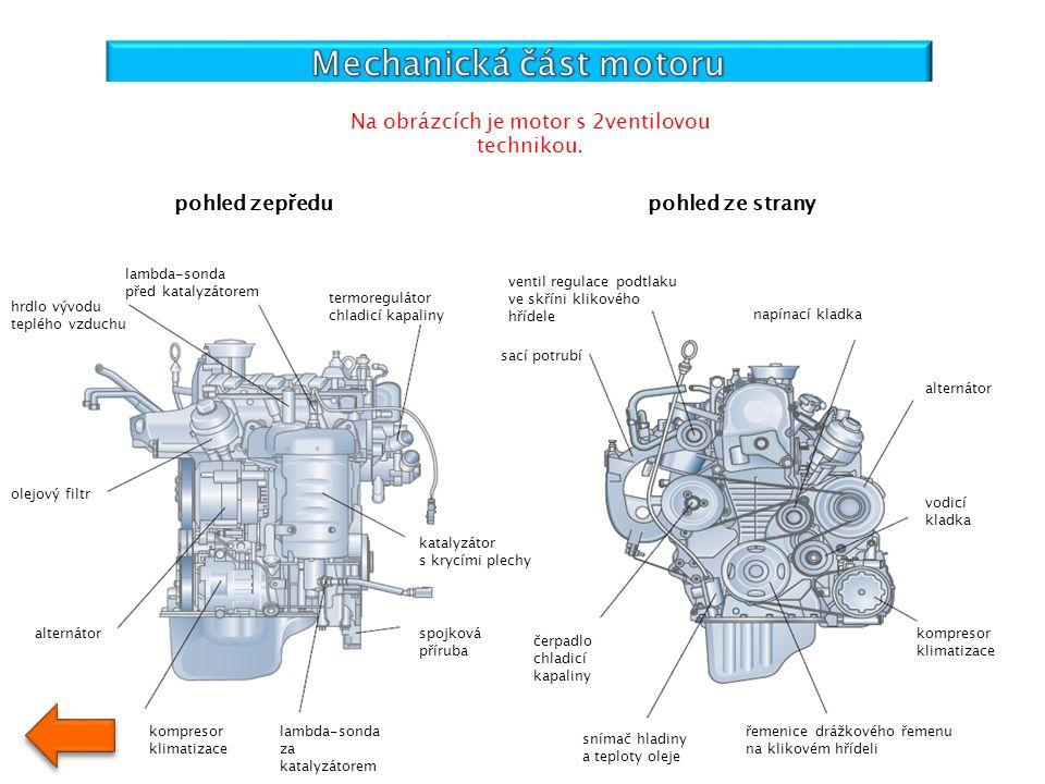 hrdlo vývodu teplého vzduchu lambda-sonda před katalyzátorem termoregulátor chladicí kapaliny olejový filtr alternátor kompresor klimatizace lambda-so