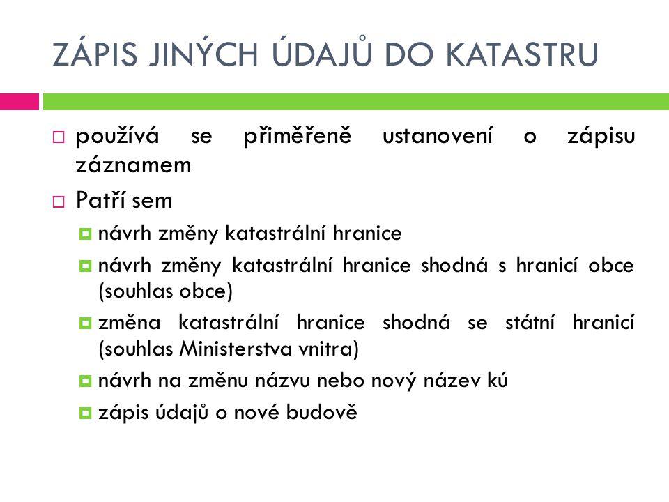 ZÁPIS JINÝCH ÚDAJŮ DO KATASTRU  používá se přiměřeně ustanovení o zápisu záznamem  Patří sem  návrh změny katastrální hranice  návrh změny katastr