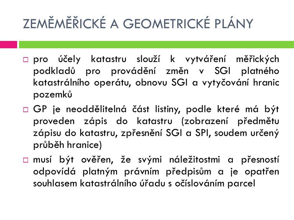 ZEMĚMĚŘICKÉ A GEOMETRICKÉ PLÁNY  pro účely katastru slouží k vytváření měřických podkladů pro provádění změn v SGI platného katastrálního operátu, ob