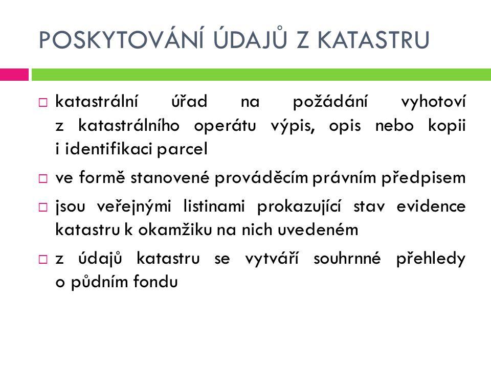 POSKYTOVÁNÍ ÚDAJŮ Z KATASTRU  katastrální úřad na požádání vyhotoví z katastrálního operátu výpis, opis nebo kopii i identifikaci parcel  ve formě s