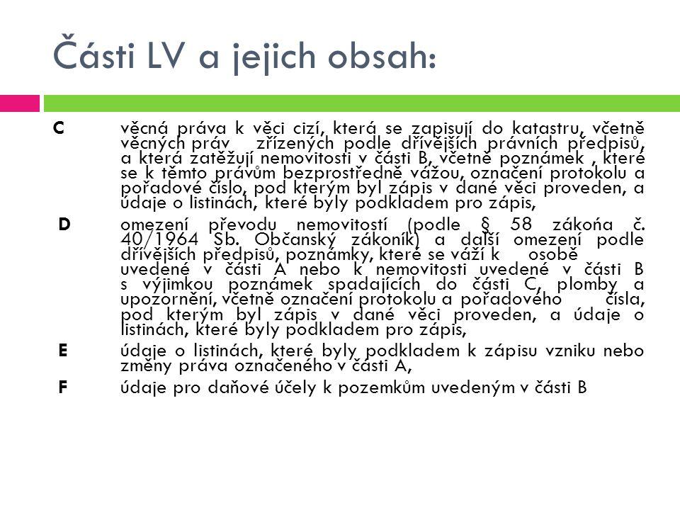 Části LV a jejich obsah: Cvěcná práva k věci cizí, která se zapisují do katastru, včetně věcných práv zřízených podle dřívějších právních předpisů, a