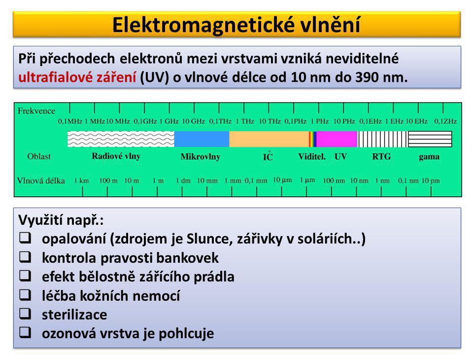 Elektromagnetické vlnění Při přechodech elektronů mezi vrstvami vzniká neviditelné ultrafialové záření (UV) o vlnové délce od 10 nm do 390 nm. Využití