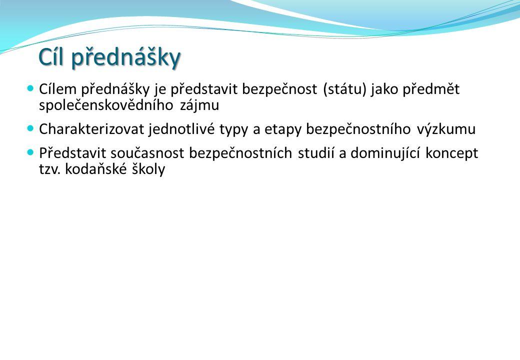 Obsah přednášky  Bezpečnost jako předmět výzkumu  Bezpečnostní studia  Strategická studia  Studia (výzkumu) míru a konfliktu  Shrnutí vývojových etap bezpečnostních studií  Současnost bezpečnostních studií (Kodaňská škola)  Závěrečné shrnutí  Vybraná pracoviště bezpečnostních studií