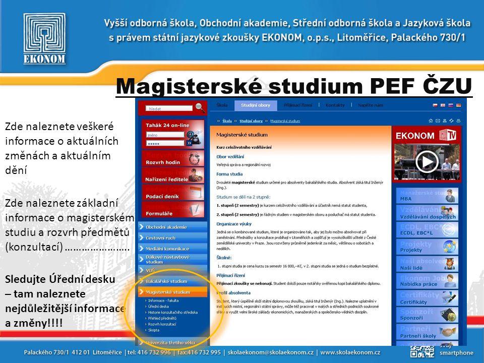 Magisterské studium PEF ČZU Zde naleznete veškeré informace o aktuálních změnách a aktuálním dění Zde naleznete základní informace o magisterském stud