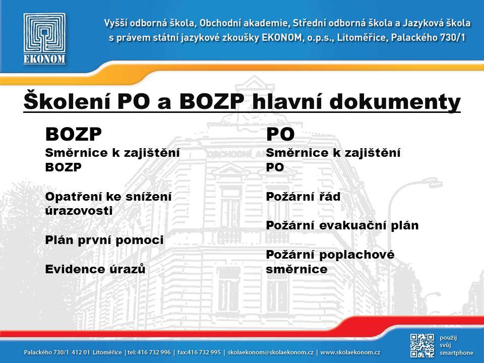 Školení PO a BOZP hlavní dokumenty BOZP Směrnice k zajištění BOZP Opatření ke snížení úrazovosti Plán první pomoci Evidence úrazů PO Směrnice k zajišt