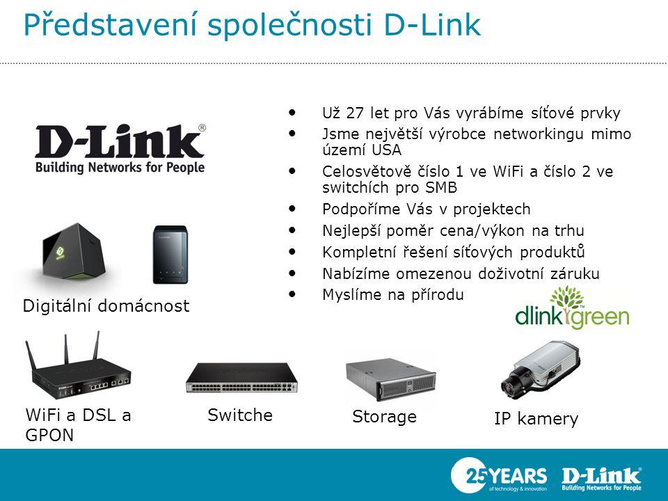 Představení společnosti D-Link • Už 27 let pro Vás vyrábíme síťové prvky • Jsme největší výrobce networkingu mimo území USA • Celosvětově číslo 1 ve WiFi a číslo 2 ve switchích pro SMB • Podpoříme Vás v projektech • Nejlepší poměr cena/výkon na trhu • Kompletní řešení síťových produktů • Nabízíme omezenou doživotní záruku • Myslíme na přírodu WiFi a DSL a GPON Switche Storage IP kamery Digitální domácnost