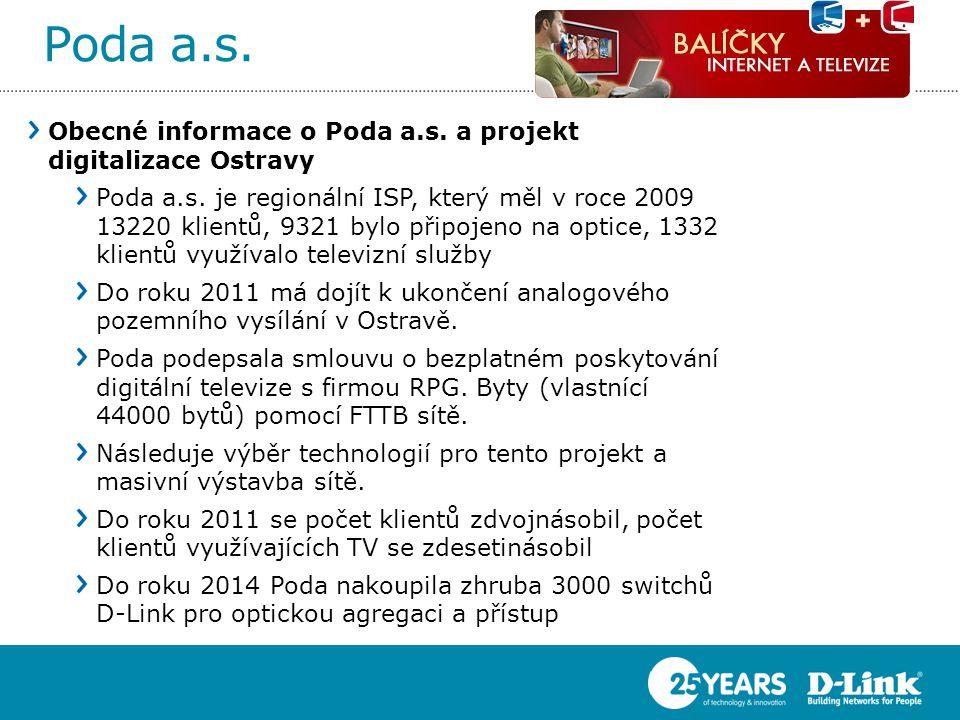 Poda a.s. Obecné informace o Poda a.s. a projekt digitalizace Ostravy Poda a.s. je regionální ISP, který měl v roce 2009 13220 klientů, 9321 bylo přip