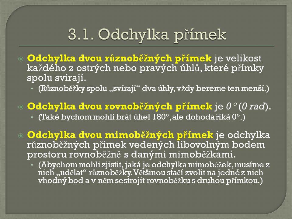  Odchylka dvou r ů znob ěž ných p ř ímek je velikost ka ž dého z ostrých nebo pravých úhl ů, které p ř ímky spolu svírají.