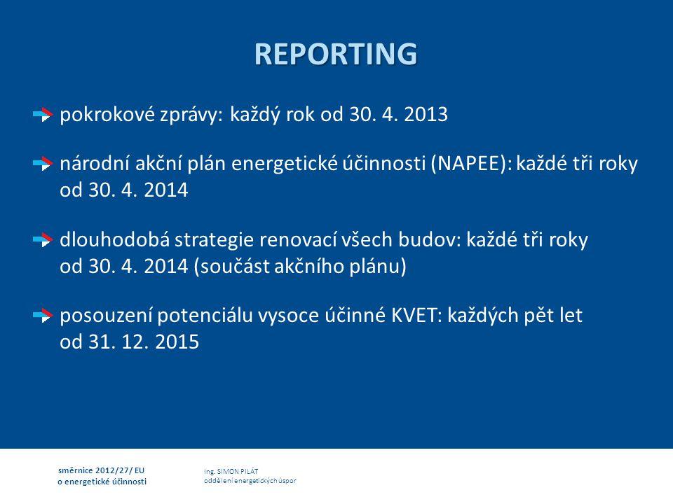 Ing. SIMON PILÁT oddělení energetických úspor směrnice 2012/27/ EU o energetické účinnosti REPORTING pokrokové zprávy: každý rok od 30. 4. 2013 národn