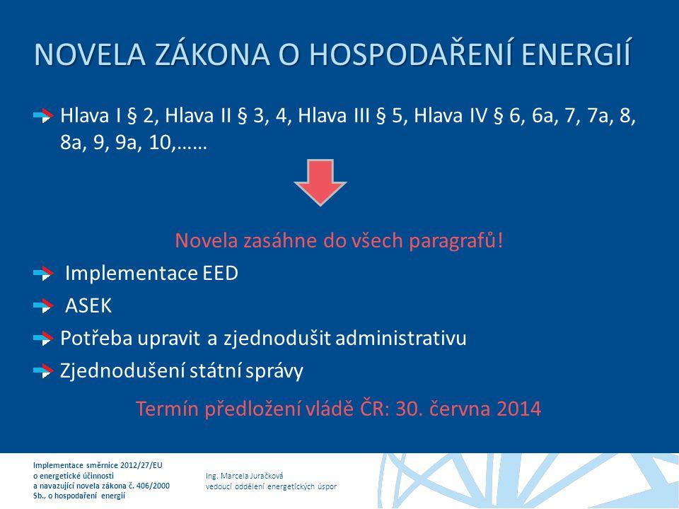 Ing. Marcela Juračková vedoucí oddělení energetických úspor Implementace směrnice 2012/27/EU o energetické účinnosti a navazující novela zákona č. 406