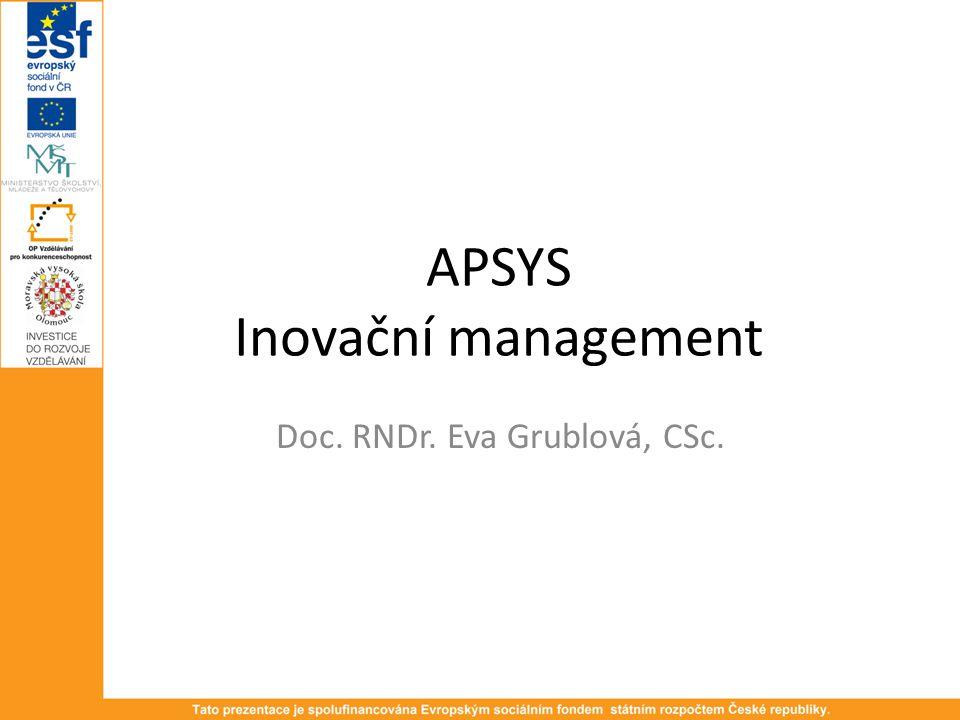 APSYS Inovační management Doc. RNDr. Eva Grublová, CSc.