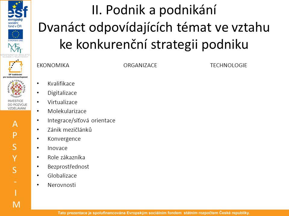II. Podnik a podnikání Dvanáct odpovídajících témat ve vztahu ke konkurenční strategii podniku EKONOMIKAORGANIZACETECHNOLOGIE • Kvalifikace • Digitali