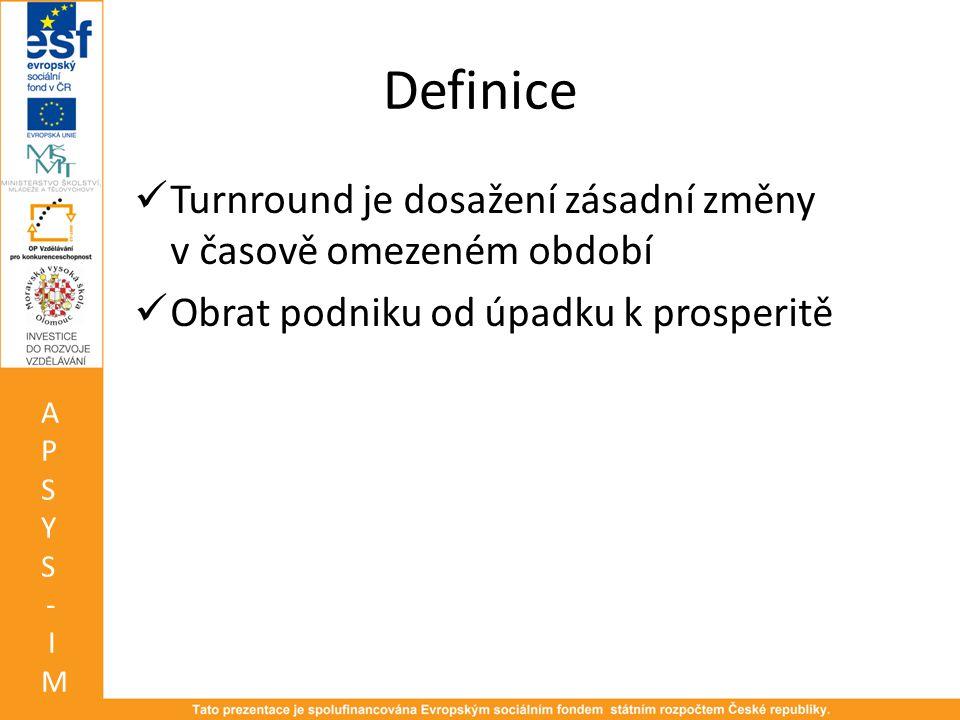 Definice  Turnround je dosažení zásadní změny v časově omezeném období  Obrat podniku od úpadku k prosperitě APSYS-IMAPSYS-IM