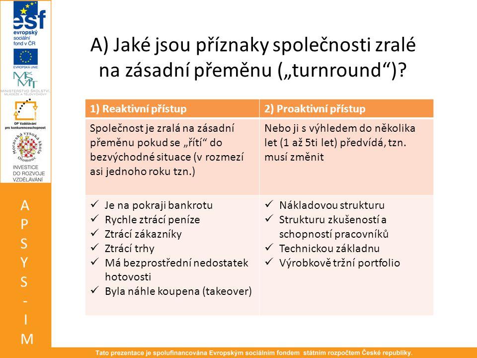 """A) Jaké jsou příznaky společnosti zralé na zásadní přeměnu (""""turnround )."""