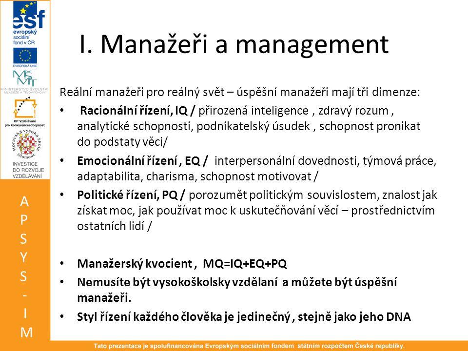I. Manažeři a management Reální manažeři pro reálný svět – úspěšní manažeři mají tři dimenze: • Racionální řízení, IQ / přirozená inteligence, zdravý