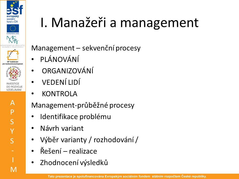 I. Manažeři a management Management – sekvenční procesy • PLÁNOVÁNÍ • ORGANIZOVÁNÍ • VEDENÍ LIDÍ • KONTROLA Management-průběžné procesy • Identifikace
