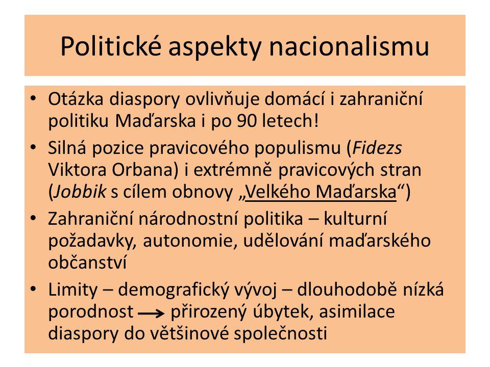 Politické aspekty nacionalismu • Otázka diaspory ovlivňuje domácí i zahraniční politiku Maďarska i po 90 letech! • Silná pozice pravicového populismu