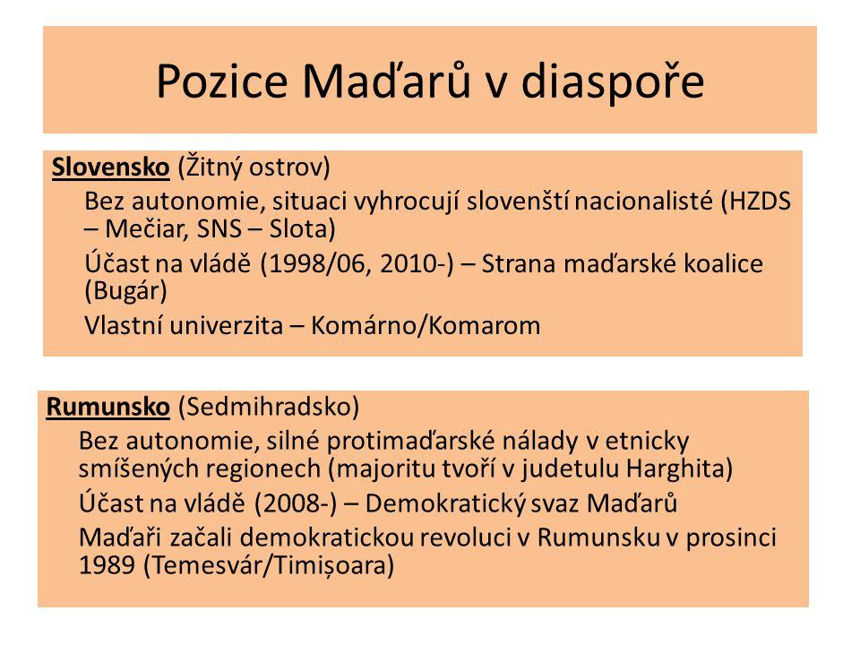 Pozice Maďarů v diaspoře Slovensko (Žitný ostrov) Bez autonomie, situaci vyhrocují slovenští nacionalisté (HZDS – Mečiar, SNS – Slota) Účast na vládě