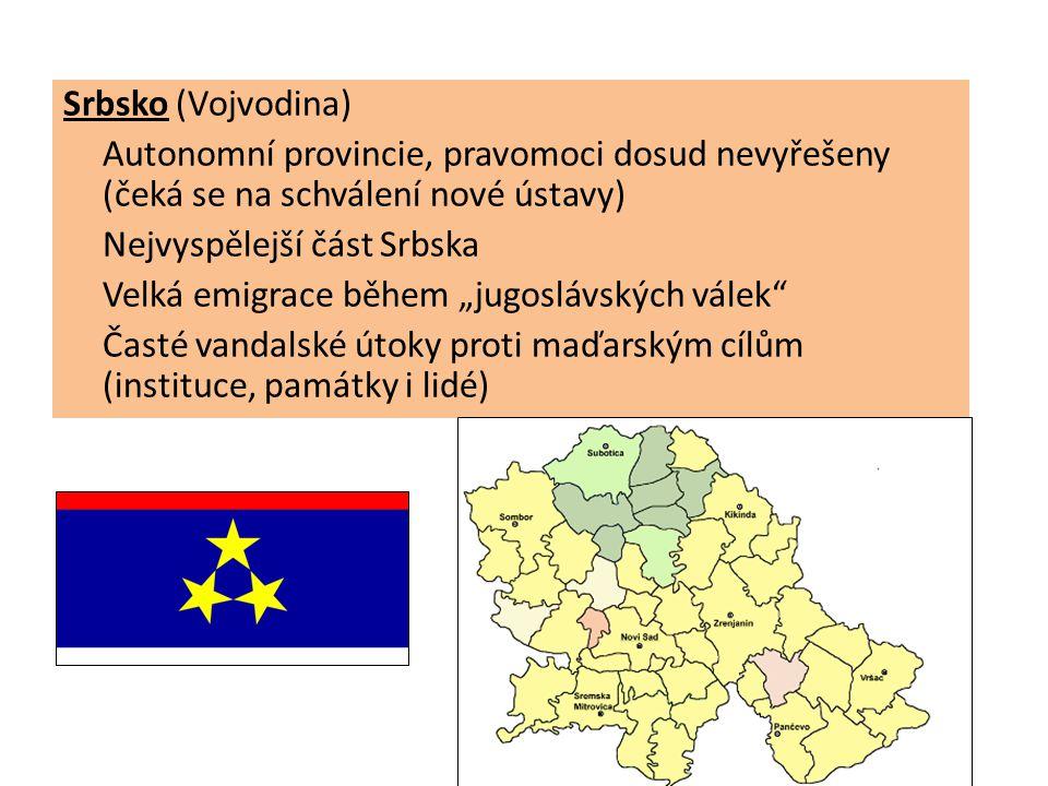 """Srbsko (Vojvodina) Autonomní provincie, pravomoci dosud nevyřešeny (čeká se na schválení nové ústavy) Nejvyspělejší část Srbska Velká emigrace během """""""