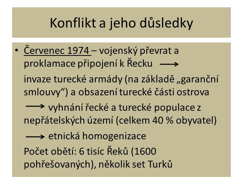 """Konflikt a jeho důsledky • Červenec 1974 – vojenský převrat a proklamace připojení k Řecku invaze turecké armády (na základě """"garanční smlouvy"""") a obs"""