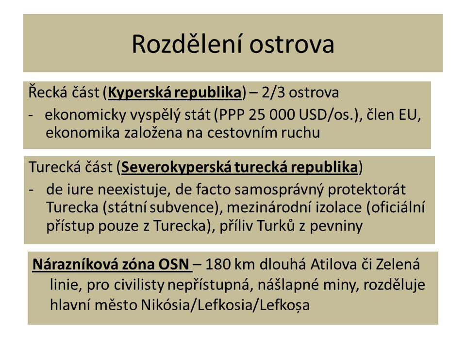 Rozdělení ostrova Řecká část (Kyperská republika) – 2/3 ostrova - ekonomicky vyspělý stát (PPP 25 000 USD/os.), člen EU, ekonomika založena na cestovn