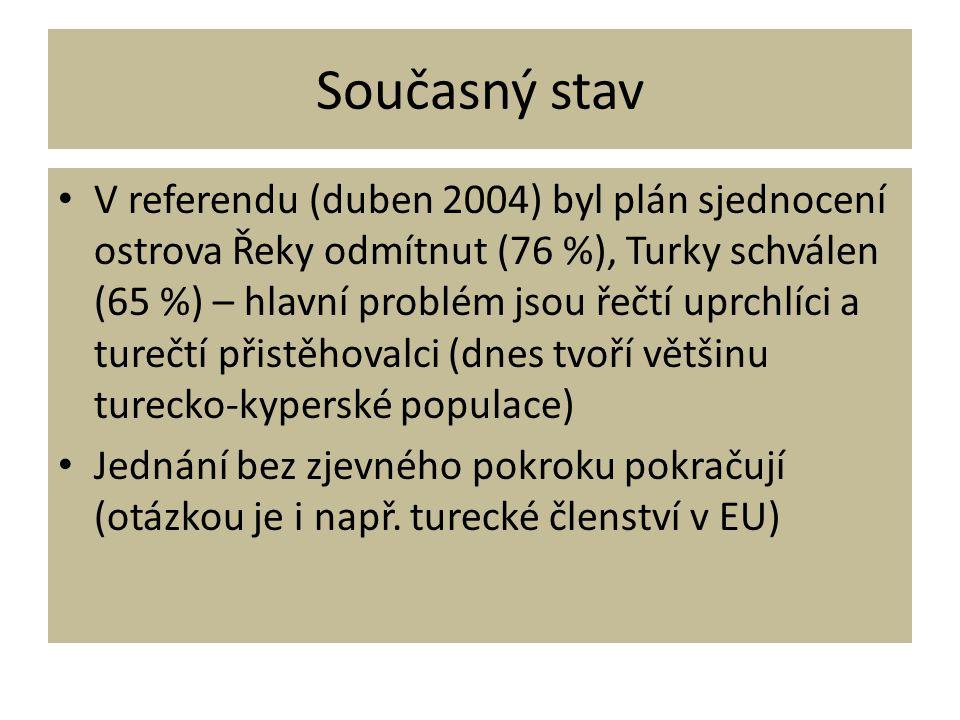 Současný stav • V referendu (duben 2004) byl plán sjednocení ostrova Řeky odmítnut (76 %), Turky schválen (65 %) – hlavní problém jsou řečtí uprchlíci