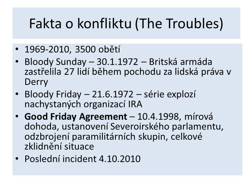 Fakta o konfliktu (The Troubles) • 1969-2010, 3500 obětí • Bloody Sunday – 30.1.1972 – Britská armáda zastřelila 27 lidí během pochodu za lidská práva