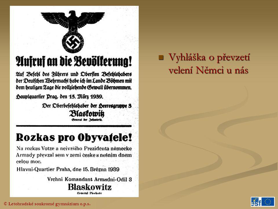  Vyhláška o převzetí velení Němci u nás