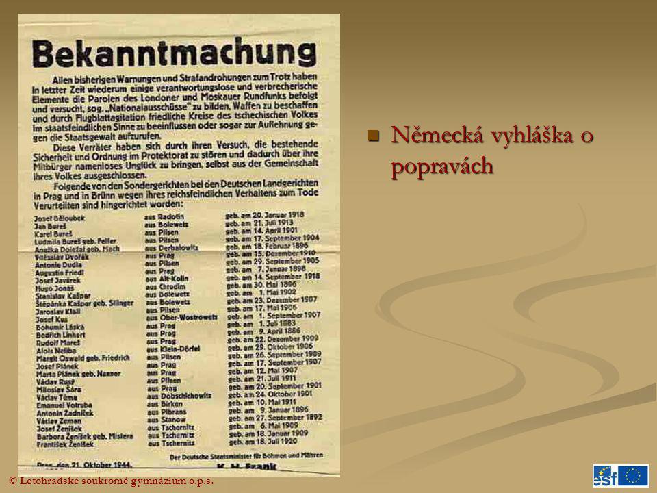 © Letohradské soukromé gymnázium o.p.s.  Německá vyhláška o popravách