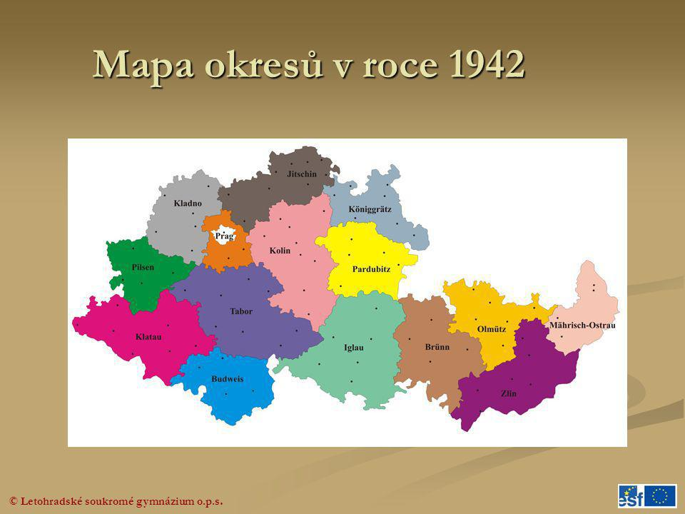 © Letohradské soukromé gymnázium o.p.s. Mapa okresů v roce 1942