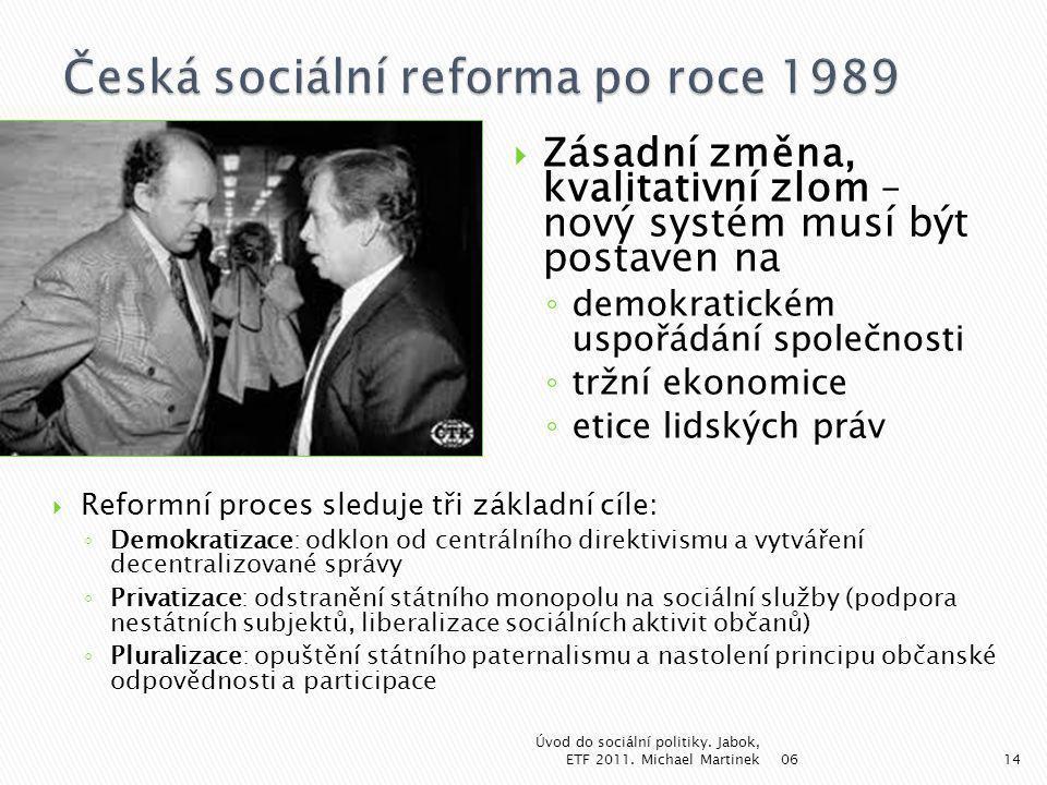  Zásadní změna, kvalitativní zlom – nový systém musí být postaven na ◦ demokratickém uspořádání společnosti ◦ tržní ekonomice ◦ etice lidských práv 