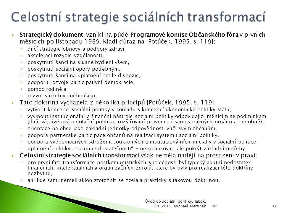  Strategický dokument, vznikl na půdě Programové komise Občanského fóra v prvních měsících po listopadu 1989. Kladl důraz na [Potůček, 1995, s. 119]: