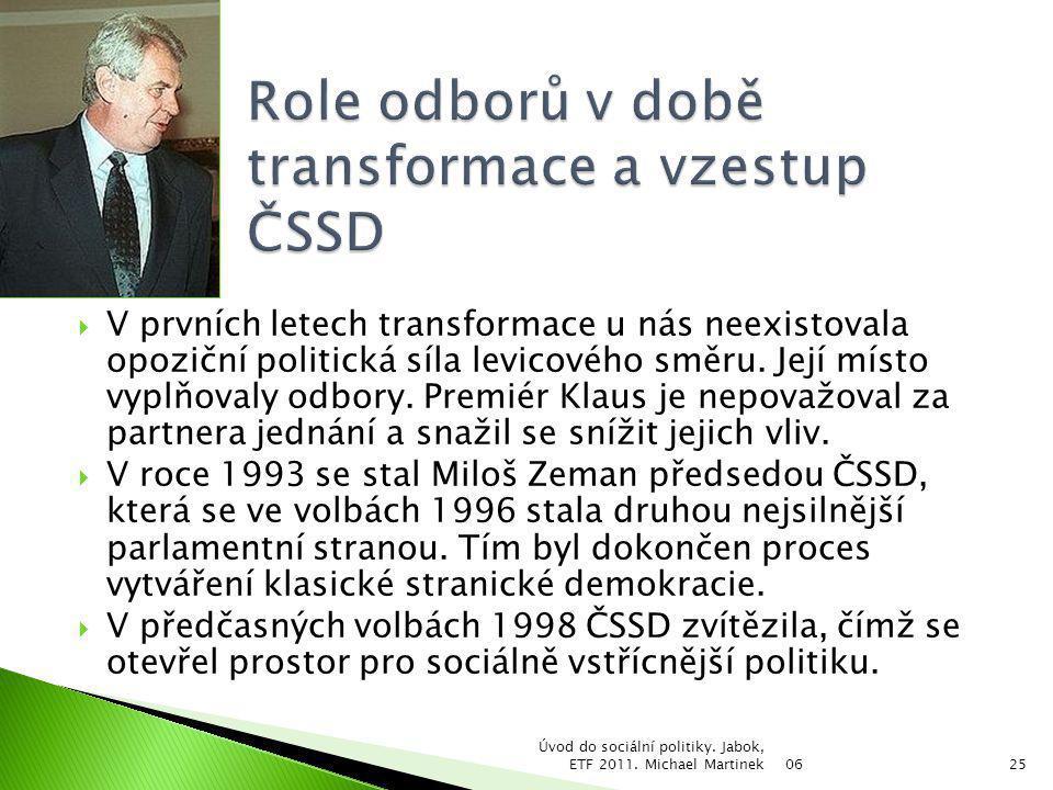  V prvních letech transformace u nás neexistovala opoziční politická síla levicového směru. Její místo vyplňovaly odbory. Premiér Klaus je nepovažova