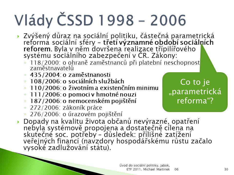  Zvýšený důraz na sociální politiku, částečná parametrická reforma sociální sféry – třetí významné období sociálních reforem. Byla v něm dovršena rea