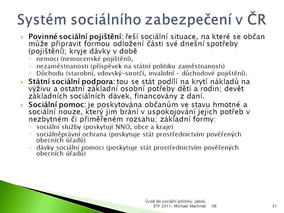  Povinné sociální pojištění: řeší sociální situace, na které se občan může připravit formou odložení části své dnešní spotřeby (pojištění); kryje dáv