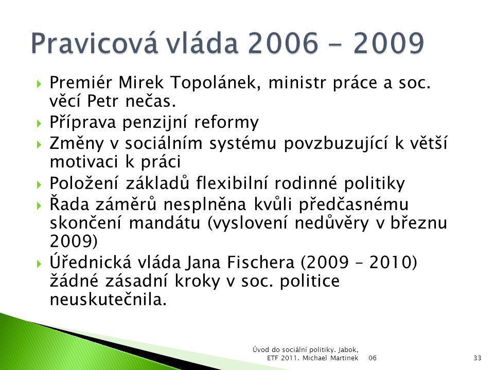  Premiér Mirek Topolánek, ministr práce a soc. věcí Petr nečas.  Příprava penzijní reformy  Změny v sociálním systému povzbuzující k větší motivaci