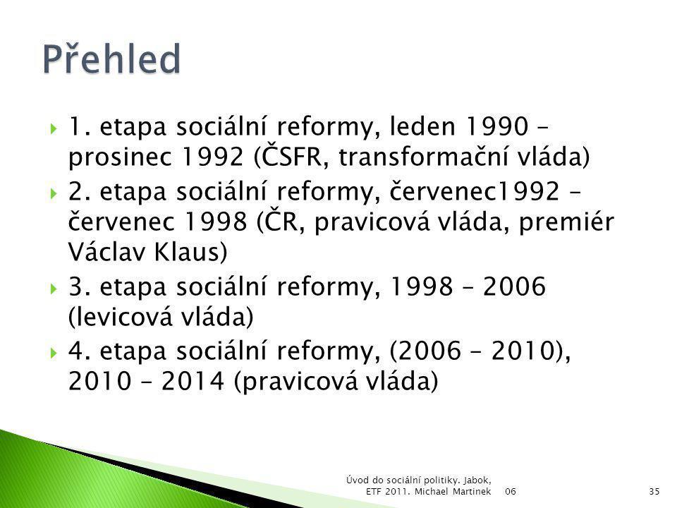  1. etapa sociální reformy, leden 1990 – prosinec 1992 (ČSFR, transformační vláda)  2. etapa sociální reformy, červenec1992 – červenec 1998 (ČR, pra