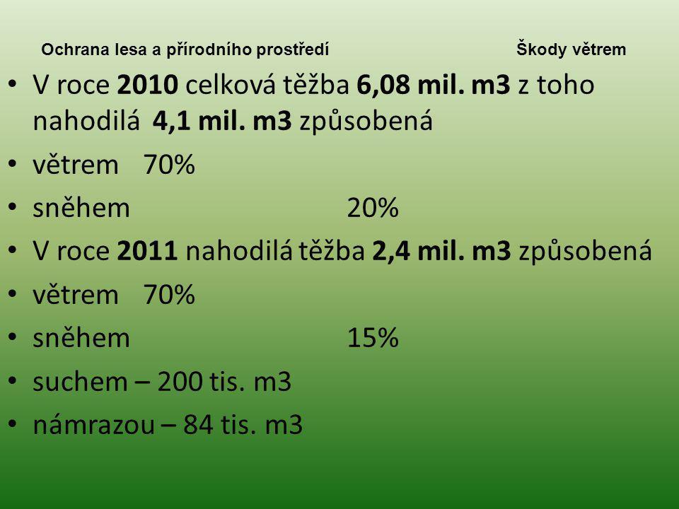 Ochrana lesa a přírodního prostředí Škody větrem • V roce 2010 celková těžba 6,08 mil. m3 z toho nahodilá 4,1 mil. m3 způsobená • větrem70% • sněhem20