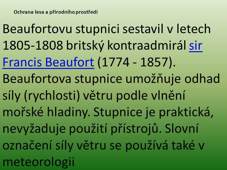 Ochrana lesa a přírodního prostředí Beaufortovu stupnici sestavil v letech 1805-1808 britský kontraadmirál sir Francis Beaufort (1774 - 1857). Beaufor