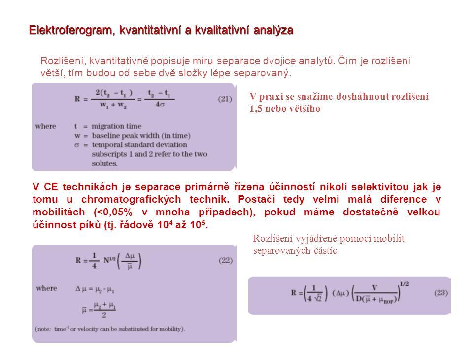 Elektroferogram, kvantitativní a kvalitativní analýza Rozlišení, kvantitativně popisuje míru separace dvojice analytů. Čím je rozlišení větší, tím bud
