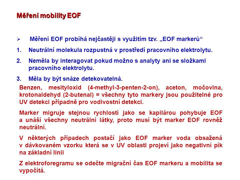 """Měření mobility EOF  Měření EOF probíhá nejčastěji s využitím tzv. """"EOF markerů"""" 1.Neutrální molekula rozpustná v prostředí pracovního elektrolytu. 2"""