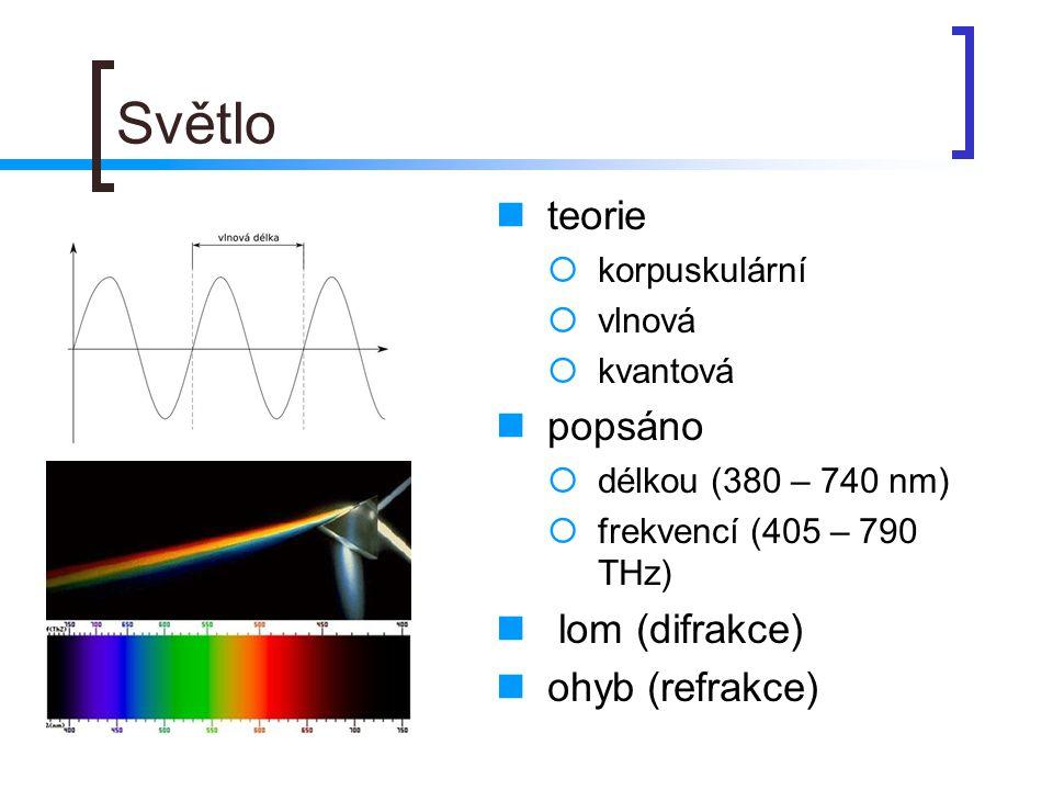 Světlo  teorie  korpuskulární  vlnová  kvantová  popsáno  délkou (380 – 740 nm)  frekvencí (405 – 790 THz)  lom (difrakce)  ohyb (refrakce)