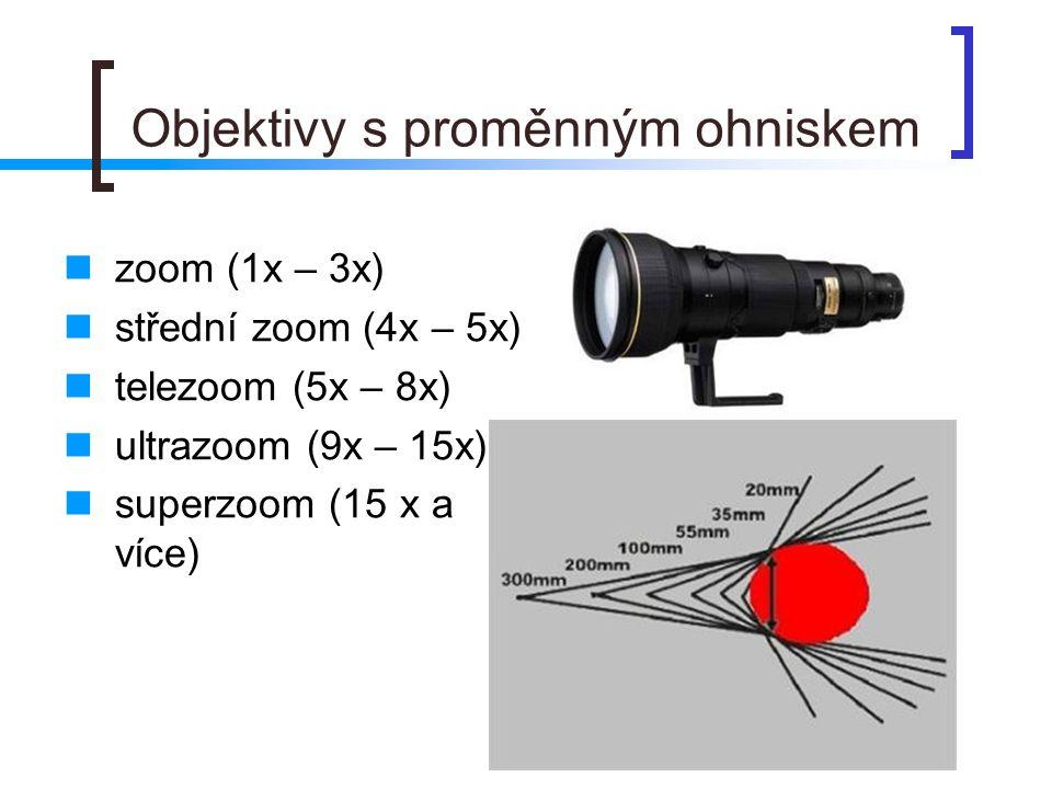 Objektivy s proměnným ohniskem  zoom (1x – 3x)  střední zoom (4x – 5x)  telezoom (5x – 8x)  ultrazoom (9x – 15x)  superzoom (15 x a více)